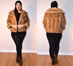 1950s sz medium / large autumn haze mink fur coat USA MADE FauxyFurr Vintage
