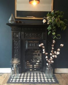 Original fireplace with Hague Blue walls and Victorian black and white hearth tiles #hagueblue
