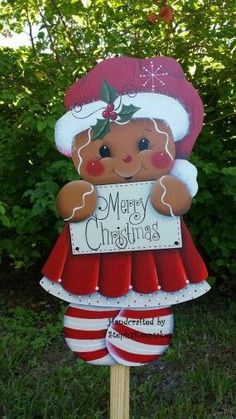 Hand Painted Wooden Gingerbread Garden Yard Stake Welcome Sign Wall Hanging Seasonal Home decor Holidays. Christmas Yard Art, Christmas Yard Decorations, Noel Christmas, Christmas Signs, Outdoor Christmas, Christmas Projects, Holiday Crafts, Christmas Ornaments, Holiday Decor