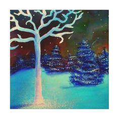 Hand Painted Aurora Borealis and Ursids Winter Snowscape done in oils.  #zazzle #artwork #northernlights #meteorshower #oilpaint