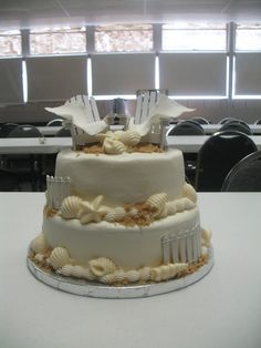 Beach themed wedding shower cake!