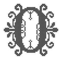 Counted Cross Stitch Pattern Formal Letters for Initials  Letter O - Instant Download Epattern PDF File