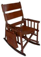 """Saddlebag-Brown"" Leather Folding Rocking Chair"