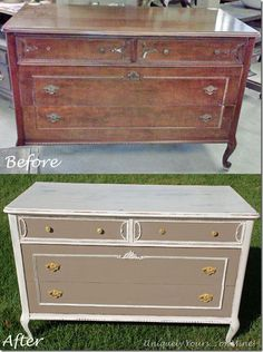 Great site for Before and After furniture refinishing! This is a vintage French chest / dresser painted in Old White and Coco Annie Sloan Chalk Paint.