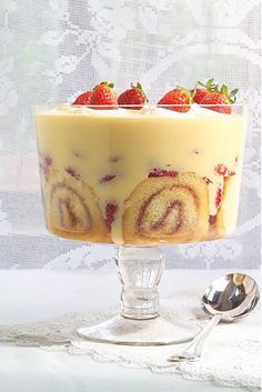 Classic Sherry Trifle_Homemade custard will make the best trifle. Do go to the effort for this classic version. Köstliche Desserts, Delicious Desserts, Dessert Recipes, Yummy Food, Chef Recipes, Plated Desserts, Trifle Bowl Desserts, Christmas Trifle, Christmas Desserts