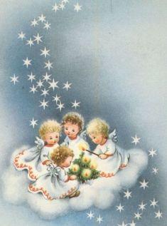 Vintage Christmas Cards, Retro Christmas, Christmas Love, Christmas Angels, Vintage Cards, Christmas Crafts, Christmas Scenes, Christmas Pictures, Advent