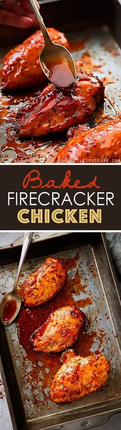 Baked Firecracker Chicken – A quick and easy weeknight dinner recipe! Learn how … Baked Firecracker Chicken – A quick and easy weeknight dinner recipe! Learn how to make dynamite firecracker sauce. Serve with rice. Spicy Recipes, Turkey Recipes, My Recipes, Cooking Recipes, Favorite Recipes, Jalapeno Recipes, Zoodle Recipes, Quick Dinner Recipes, Recipes With Hot Sauce