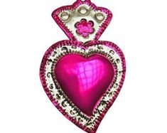 Mexican handmade tin hot pink HEART wall hanging ornament decor with hand punched designs, fucsia he Mexican Crafts, Mexican Art, Tin Art, Rental Decorating, Heart Wall, Arte Popular, Heart Ornament, Hanging Ornaments, Sacred Heart