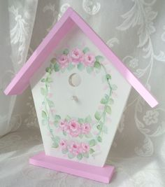 WREATHS OF ROSES BIRD HOUSE hp chic cottage shabby vintage hand painted pink art #Unbranded