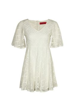 Lucy Angel Sleeve Flower Lace Skater Dress £25