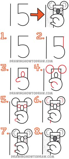 How to Draw a Cartoon Koala Bear from the Number 15 – Easy Drawing Tutorial for Kids Today I will show you how to draw a cartoon Koala from . Drawing Videos For Kids, Drawing Lessons For Kids, Drawing Tutorials For Kids, Art Drawings For Kids, Drawing Tips, Easy Drawings, Easy Drawing Tutorial, Word Drawings, Doodle Drawings