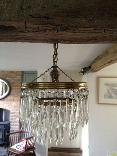 Vintage / Antique Crystal and Brass Ceiling Light / Chandelier