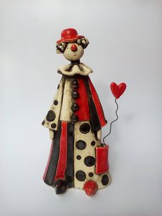 Ceramic clown,  ceramic sculpture, art sculpture, clay figurine, ceramic figurine, art ceramics