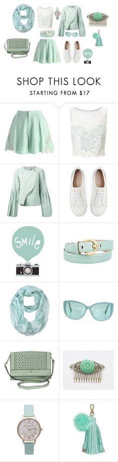 """""""Minty Clouds"""" by evelyngiles ❤ liked on Polyvore featuring Chicwish, Miss Selfridge, Loewe, Mint Velvet, Salvatore Ferragamo, Linda Farrow, Kate Spade and Olivia Burton"""