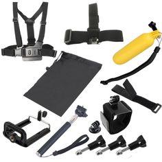[$15.31] 8 in 1 Chest Belt + Wrist Belt + Head Strap + Floating Bobber Monopod + Screws + Carry Bag + Handheld Monopod Clamp Set for GoPro HERO4 /3+ /3 /2 /1 / SJ4000