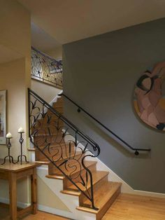 Wrought Iron Banister Railings Design, Pictures, Remodel, Decor and Ideas - page 2 Wrought Iron Banister, Metal Stair Railing, Staircase Railings, Hand Railing, Staircases, Banister Ideas, Handrail Ideas, Metal Handrails, Iron Staircase