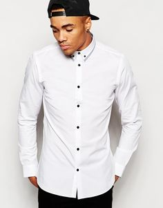 Image 1 of New Look Contrast Trim Collar Shirt in Long Sleeve