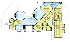 Dream Home Plan with Heart-Shaped Bedroom - floor plan - Floor Luxury House Plans, Dream House Plans, House Floor Plans, New Modern House, Modern Houses, Built In Buffet, Trey Ceiling, Mountain House Plans, Garage Interior