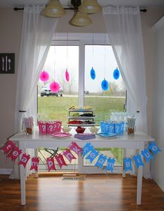 Gender Reveal Party - image inspiration only! Love the banners!