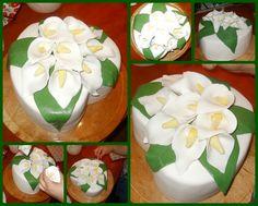 Heart cake with flower (Zantedeschia)- Kálás szívtorta