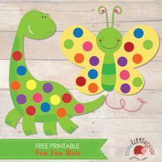 Free Dinosaur and Butterfly Pom Pom Mats - Busy Little Bugs Quiet Time Activities, Pre K Activities, Preschool Learning Activities, Preschool Activities, Dinosaur Printables, Dinosaur Crafts, Free Printables, Learning Time, Toddler Learning