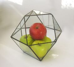 Cuboctahedron.Stained Glass Terrarium.Geometric glass by MyVitraz