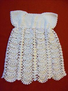 ropa de bebe en crochet | Vestido a crochet para bebé de 3 a 6 meses