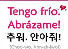 I'm cold, Hug me ^ - ^ Korean Words Learning, Korean Language Learning, How To Speak Korean, Learn Korean, Korean Expressions, Learn Hangul, Korean Writing, Korean Phrases, Korean Lessons