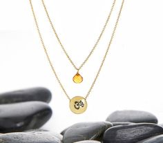 OM and Citrine Layer Necklace Yoga Jewelry by HouseofMetalworks, $23.00  EXACTLY AS SHOWN