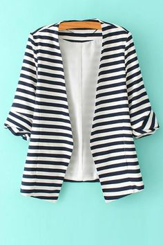 SheIn offers Navy White Striped Long Sleeve Fitted Blazer & more to fit your fashionable needs. Striped Jacket, Striped Blazer, Cotton Blazer, Black White Stripes, Navy And White, Navy Blue, Vetement Fashion, Slim Fit Jackets, Casual Blazer