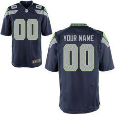 Men's Seattle Seahawks Nike College Navy Custom Game Jersey