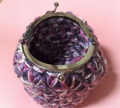 簡単にリフ編みをがま口にする方法    編物細工 つきのかげ