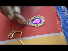 Making of Kundan work with Stone and Stone Lace - Maggam work making video - YouTube