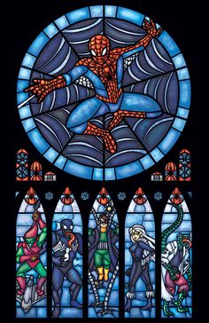 Spiderman Stained Glass Window Print