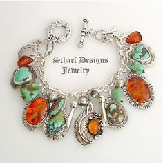Schaef Designs Amber Turquoise & Sterling Silver Charm Bracelet www.maverickstyle.net