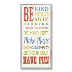 Stupell Industries BRP-1437 Be Kind and Silly Typography Decorative Wall Panel
