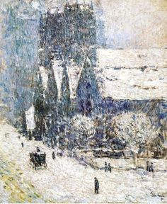 Winter Painting by Childe Hassam (1859-1935) American Impressionist Artist