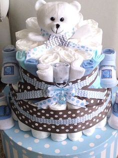 Baby boy Diaper Cake for baby shower gift or centerpiece on Etsy, $45.00