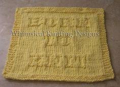Whimsical Knitting Designs: BORN TO KNIT washcloth pattern