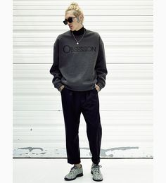 crew neck sweat | trackies | sneakers