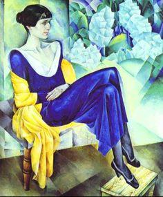 Prachtig portret van de russische dichteres Anna Achmatova door Nathan Altman