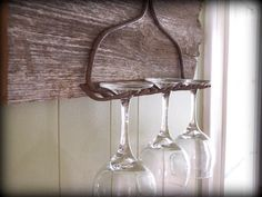 rustic barnboard wine glass rack