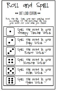 Roll & Spell Game  This looks like a fun way to practice spelling words.