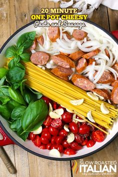 One Pot Cheesy Pasta and Sausage (With Video). One Pot Cheesy Pasta and Sausage - A creamy cheesy tomato basil sauce is cooked right into the linguine pasta in Crock Pot Recipes, Sausage Recipes, Pork Recipes, Cooking Recipes, Pasta Recipes, Cooking Kale, Weeknight Recipes, Meal Recipes, Easy Cooking