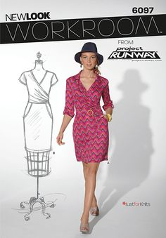 New Look 6097 dress Workroom from Project Runway, misses' belted knit dress with neckline and sleeve variations.