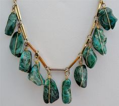 Wire wrapped Parrot Wing Chrysocolla Festoon Green Hand Crafted Necklace Vintage | eBay