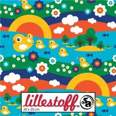 Lillestoff * Missing Duck * Enten Blumen Fische Frosch Regenbogen Blumen BIO Jersey Stoff GOTS