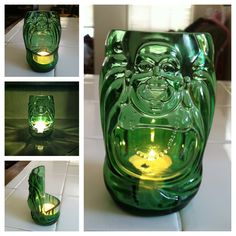 Amazing tea light holder upcycled from a Lucky Buddha beer bottle. Photo Credit: Elena Ventura