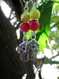 Sterling Silver Hamsa Charm and Magnesite Wire by PearletteDivine, $12.00
