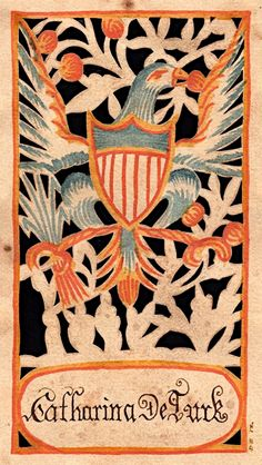 Fraktur. Antique eagle folk art.